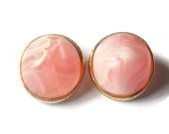 Vintage Kramer Pink and White Plastic Clip On Earrings