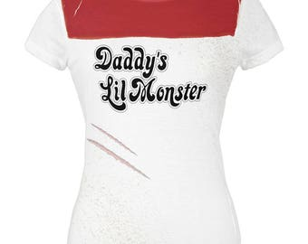 Daddy's Lil Monster All Over Juniors T-Shirt