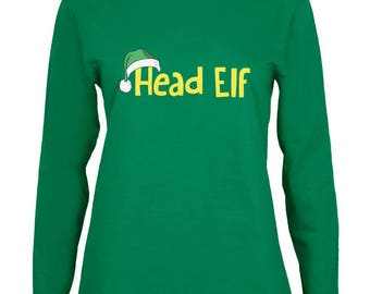 Christmas Head Elf Green Womens Long Sleeve T-Shirt