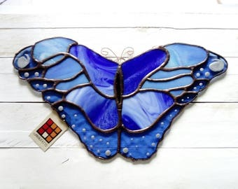 Blue Butterfly stained glass