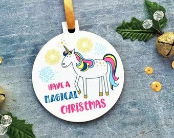 Unicorn Christmas Ornament, Personalised Ornament, Name Unicorn Ornament, Unicorn Christmas Gift, Christmas Gift For Girl, Stocking Filler