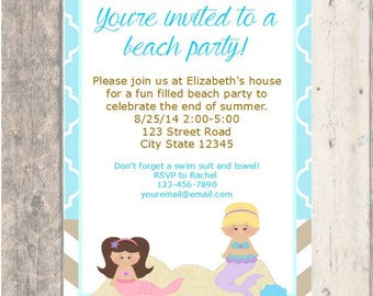 Mermaid Birthday Party Invitation Printable Boy Girl