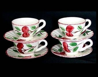 Blue Ridge Lot CRAB APPLE (4) Cup and Saucer Sets Vintage Pottery Southern Potteries Dinnerware Crabapple Cherry Bounce (B9) 7812