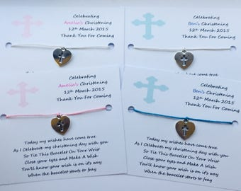 5 x Personalised Christening Wish Bracelets Favours/Gifts