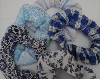 Hair scrunchies,  hair scrunchie pack, hair accessory, hair scrunchie bundle (x5), blue, blue and white, blue and white scrunchie, hair tie