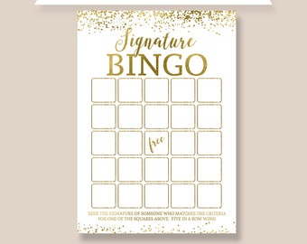 Signature Bingo Editable Template Birthday Party Game Activity