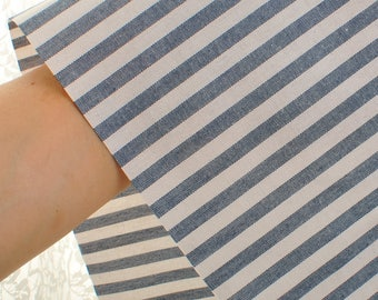 White and Blue Stripe Cotton Fabric Sold by 50cm MT066