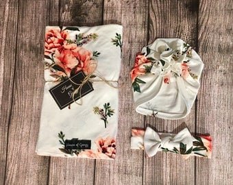 Newborn White with Red Floral Swaddle Set | Headband and Turban included