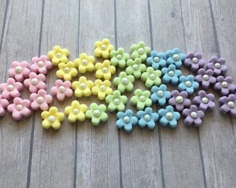 30 Edible sugar Blossom flowers with pearl centre cake cupcake decorations - Pastel Rainbow - unicorn girlie