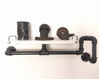 Vintage Industrial style shelf/shelving in plumbing pipes, home decoration.