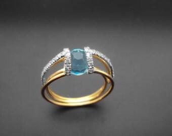 Diamond Ring, 14k Yellow Gold, 14k White Gold,Zirconia , Spinel
