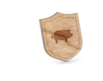 Pig Lapel Pin, Wooden Pin, Wooden Lapel, Gift For Him or Her, Wedding Gifts, Groomsman Gifts, and Personalized