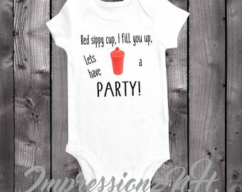 country music onesie - funny baby bodysuit one-piece shirt, country girl, country boy - red sippy cup