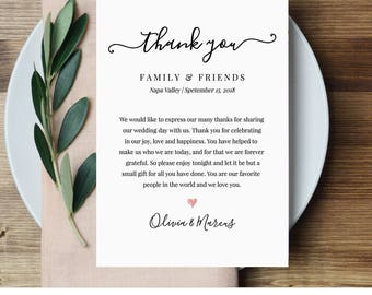 Wedding Thank You Letter, Thank You Note, Printable Wedding In Lieu of Favor Card, Fully Editable Template, Instant Download #030-101TYN