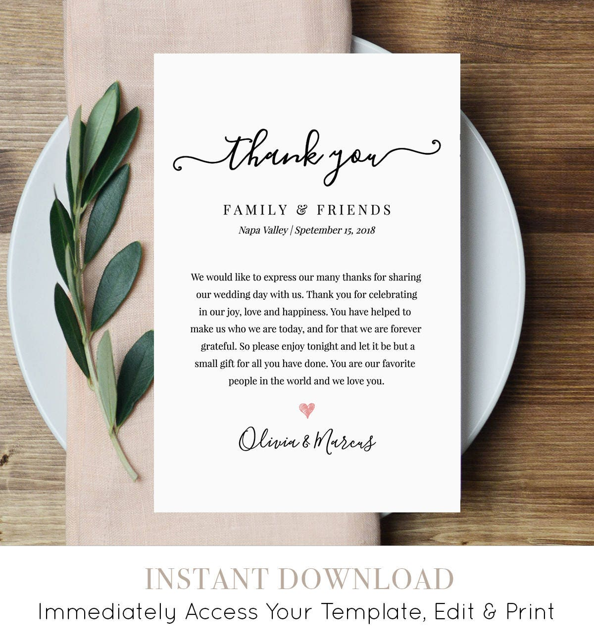 wedding thank you letter thank you note printable wedding in. Black Bedroom Furniture Sets. Home Design Ideas