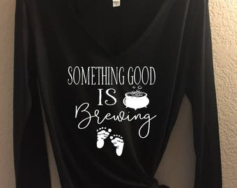 Something Good Is Brewing - Bella Canvas Flowy Raglan Tee or Long Sleeve - Maternity, Pregnancy Announcement, halloween pregnancy, tshirt