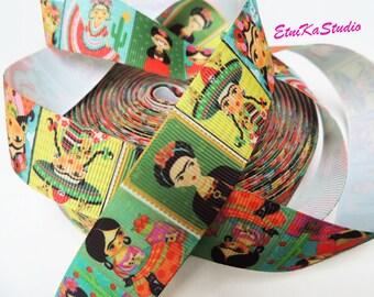 Mexican cartoon doll Frida Kahlo fun colorful print 25 mm Grosgrain Ribbon