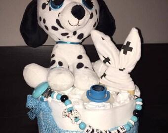 Dalmatian dog diaper cake