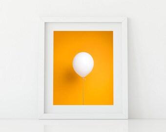 White Balloon on Yellow Pop Art - Bright and Fun Kids Artwork
