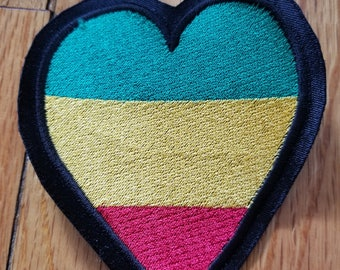 Rasta Colored HEART shaped patch