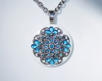 Turquoise Blue Button Necklace, Turquoise Rhinestones, White Button, Turquoise White Silver Pendant, Blue Pendant Necklace, Jewelry