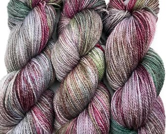 "Hand Dyed Organic Yarn ""All Hail Kale!"" Grey Purple green Brown Pink Speckled Fingering Wool Superwash 408yds 115g"