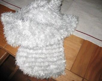 SCARF gray white striped wool fraying