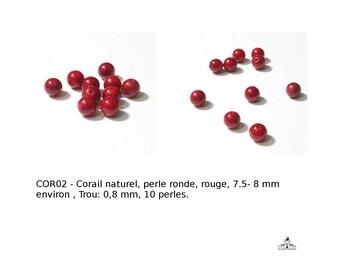 Corail naturel, perle ronde, de couleur rouge, 8 mm, Trou: 0,8 mm, 10 pcs