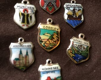 Vintage Enameled Travel Charms