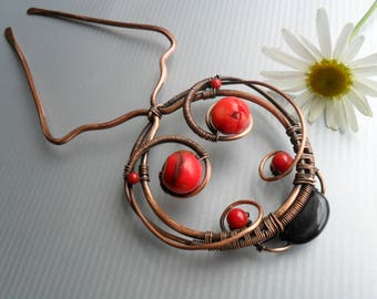 Ladybug Hair fork Rustic copper hair stick Hair comb Hair jewelry Metal hair stick Hair acessories Bun holder Wire wrapped hair pin Prong