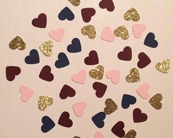 200 Navy Pink Bordeaux Gold Heart Confetti Bridal Shower Confetti Wedding Confetti Baby Confetti Shower Confetti 2018 Wedding Confetti