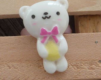 Adjustable ring adjustable child bear pink plastic resin pink bow white