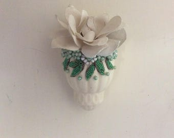 Precious Antique Wall Vase, Matte Ceramic with Micro Beading and Flower Beading