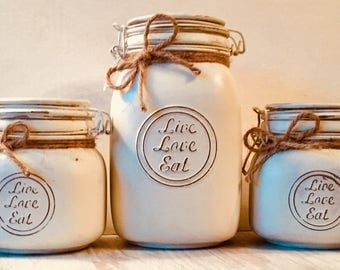 Kitchen Canister Set,Baking Canister Set, Glass Locking Jars, Kitchen Accessories, Kitchen Farmhouse Decor, Rustic Canisters Storage