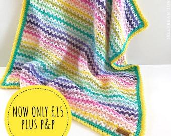Candy Rainbow Stripe Crochet Blanket