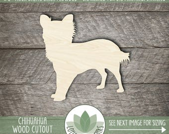 Chihuahua Wood Cut Out Shape, Unfinished Wood Chihuahua Laser Cut Shape, DIY Craft Supply, Many Size Options