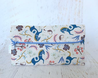 Foldover Clutch | Carousel | Make-up Bag | Rifle Paper Company Fabric | Purse Pouch