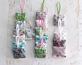 Organic Lavender | Mini Sachets |Made with Vintage Fabrics | Set of 5