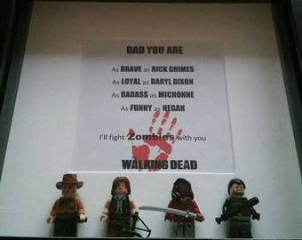 Fathers Day Walking Dead minifigure frame with Rick Daryl Michonne and Negan. Perfect gift for that tv loving dad