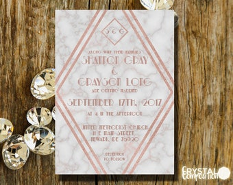 Modern Marble Rose Gold and Gray Wedding Invitation Suite Printable