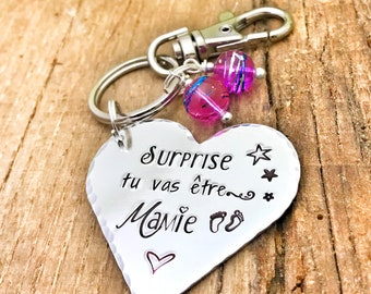 Personalised French Mamie Keyring, Cadeau Mamie, Porte Clé Mamie