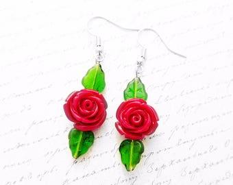 Red Rose beaded Earrings,Rose Jewelry ,Romantic Jewelry,Romantic gift, Beauty and the Beast,Belle Earrings,Girlfriend Gift,Victorian flower