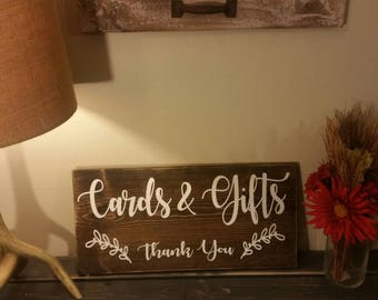 Beautiful handpainted wedding cards & gifts sign