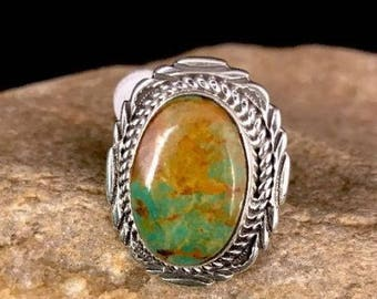 Native American Green Turquoise Ring Sterling Silver Vintage Signed Sz 7