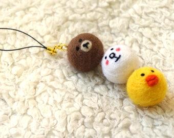 Wool Needle Felted Keychain - Line Friends