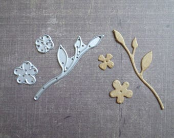 Die cut matrix Sizzix branch leaf Mini flowers