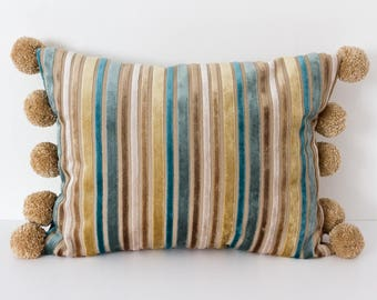 Turquoise and Beige Striped Cushion with Pom Poms, Throw Pillow, Decorative Velvet Cushion with Pom Poms, Blue Striped Rectangular Cushion
