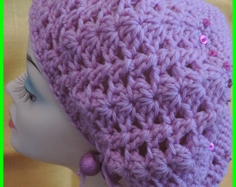 Pink crocheted beret and sequins
