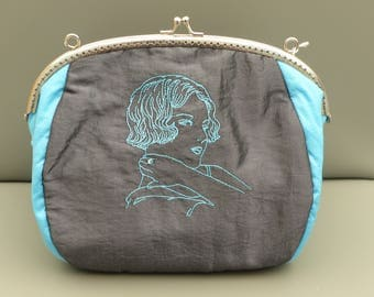 teal and grey taffeta evening bag anthracite //sac wedding / / ceremony bag / / baptism