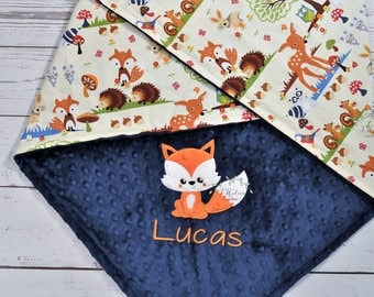 Personalized baby blanket-Fox Baby blanket personalized-Woodland minky baby blanket-Woodland Fox blanket-Fox Minky baby blanket Boy girl